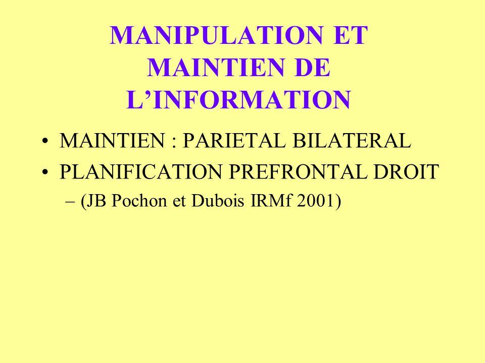 MANIPULATION ET MAINTIEN DE LINFORMATION MAINTIEN : PARIETAL BILATERAL PLANIFICATION PREFRONTAL DROIT –(JB Pochon et Dubois IRMf 2001)