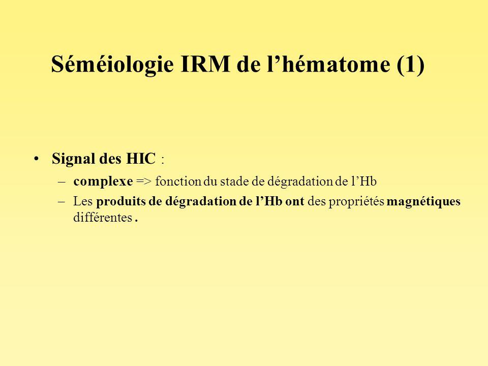 Séméiologie IRM de lhématome (1) Signal des HIC : –complexe => fonction du stade de dégradation de lHb –Les produits de dégradation de lHb ont des pro