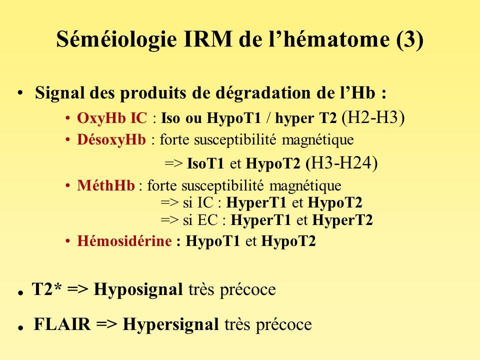 Séméiologie IRM de lhématome (3) Signal des produits de dégradation de lHb : OxyHb IC : Iso ou HypoT1 / hyper T2 (H2-H3) DésoxyHb : forte susceptibili