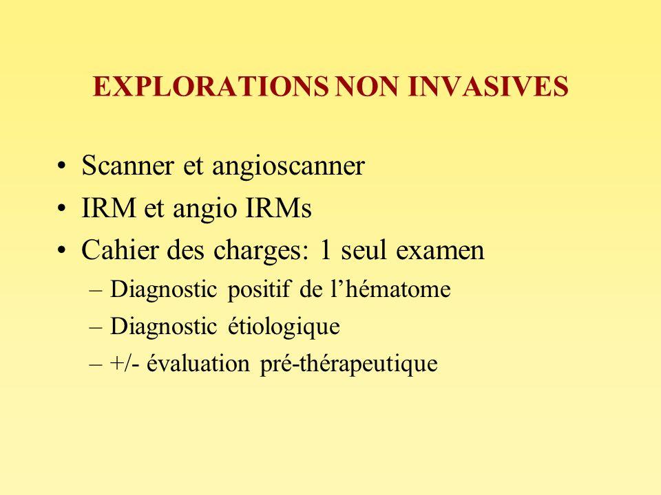 EXPLORATIONS NON INVASIVES Scanner et angioscanner IRM et angio IRMs Cahier des charges: 1 seul examen –Diagnostic positif de lhématome –Diagnostic ét