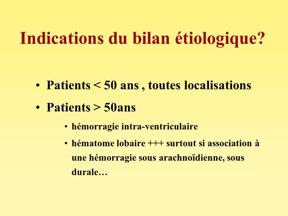 Indications du bilan étiologique? Patients < 50 ans, toutes localisations Patients > 50ans hémorragie intra-ventriculaire hématome lobaire +++ surtout