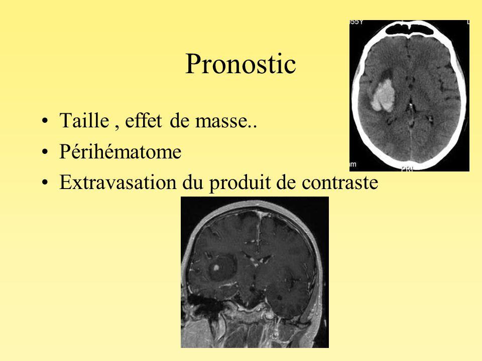 Pronostic Taille, effet de masse.. Périhématome Extravasation du produit de contraste