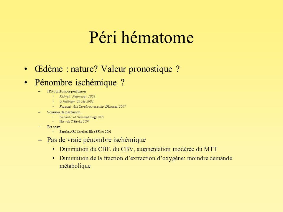 Péri hématome Œdème : nature? Valeur pronostique ? Pénombre ischémique ? –IRM diffusion-perfusion Kidwell Neurology 2001 Schellinger Stroke 2003 Pascu