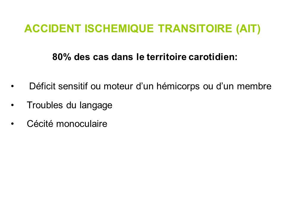 ACCIDENT ISCHEMIQUE TRANSITOIRE (AIT) 20 % des cas dans le territoire vertébro basilaire: Déficit sensitif et/ou moteur bilatéral ou à bascule Ataxie cérébelleuse Cécité (bilatérale) corticale Ictus amnésique