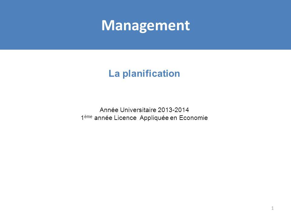 1 La planification Année Universitaire 2013-2014 1 ème année Licence Appliquée en Economie Management