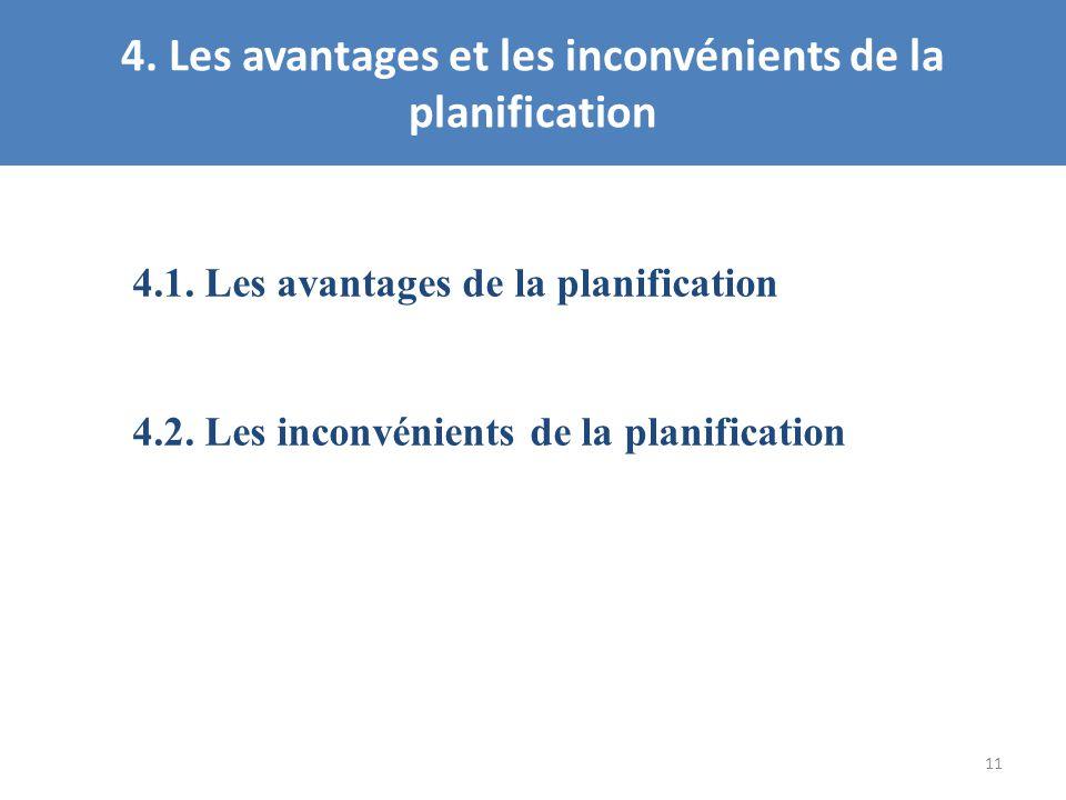 4. Les avantages et les inconvénients de la planification 11 4.1. Les avantages de la planification 4.2. Les inconvénients de la planification