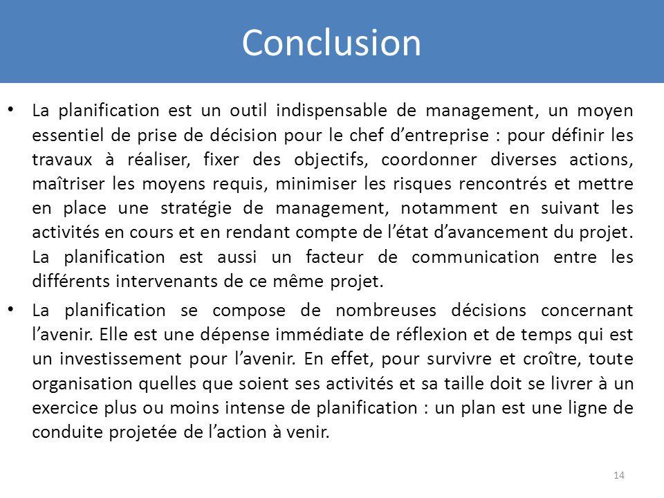 Conclusion La planification est un outil indispensable de management, un moyen essentiel de prise de décision pour le chef dentreprise : pour définir