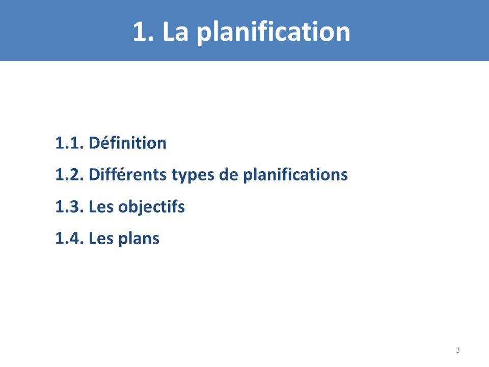 1. La planification 1.1. Définition 1.2. Différents types de planifications 1.3. Les objectifs 1.4. Les plans 3