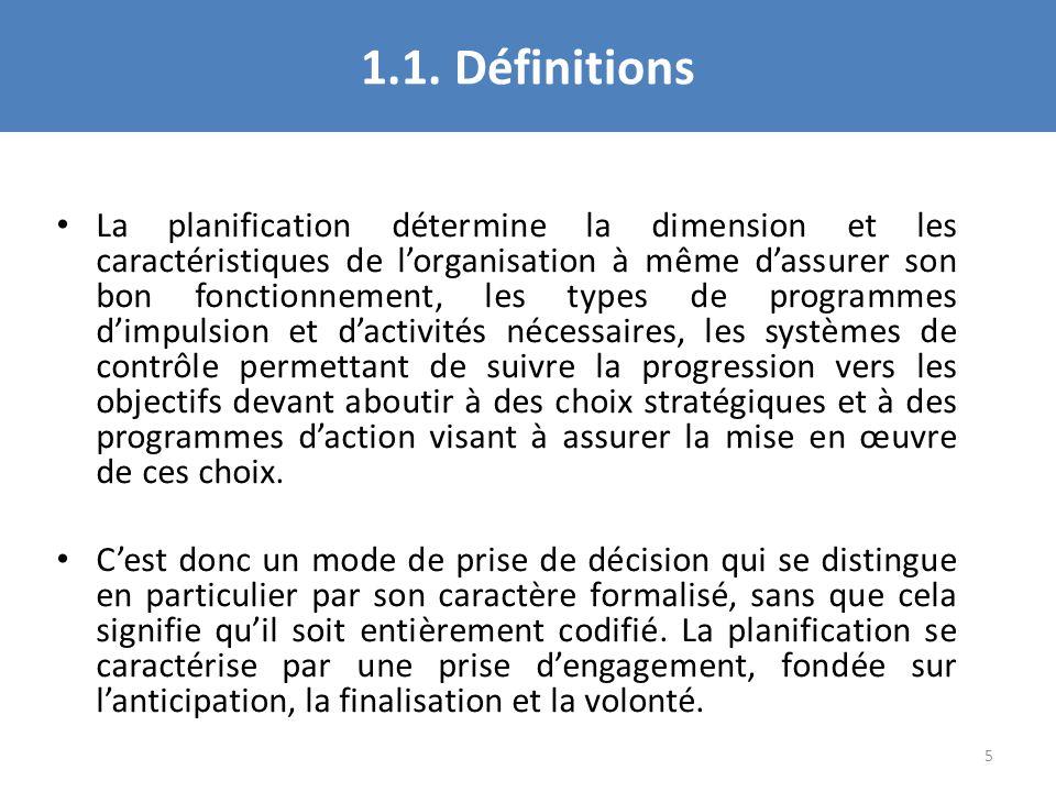1.1. Définitions La planification détermine la dimension et les caractéristiques de lorganisation à même dassurer son bon fonctionnement, les types de