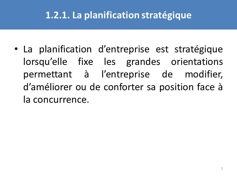 1.2.1. La planification stratégique La planification dentreprise est stratégique lorsquelle fixe les grandes orientations permettant à lentreprise de
