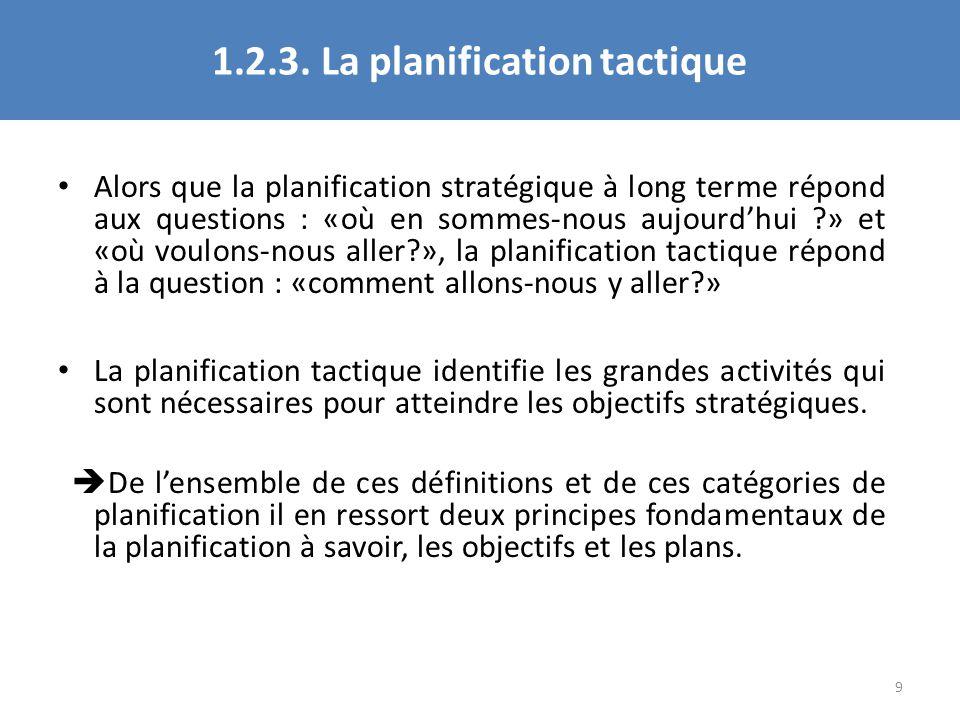 1.2.3. La planification tactique Alors que la planification stratégique à long terme répond aux questions : «où en sommes-nous aujourdhui ?» et «où vo