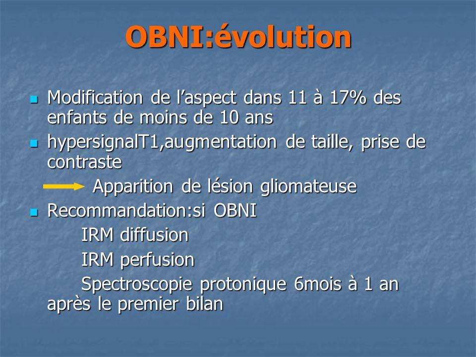 OBNI:évolution Modification de laspect dans 11 à 17% des enfants de moins de 10 ans Modification de laspect dans 11 à 17% des enfants de moins de 10 ans hypersignalT1,augmentation de taille, prise de contraste hypersignalT1,augmentation de taille, prise de contraste Apparition de lésion gliomateuse Apparition de lésion gliomateuse Recommandation:si OBNI Recommandation:si OBNI IRM diffusion IRM diffusion IRM perfusion IRM perfusion Spectroscopie protonique 6mois à 1 an après le premier bilan Spectroscopie protonique 6mois à 1 an après le premier bilan