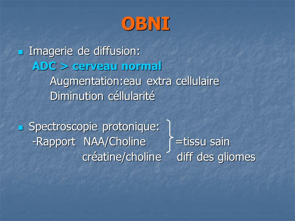 OBNI Imagerie de diffusion: Imagerie de diffusion: ADC > cerveau normal ADC > cerveau normal Augmentation:eau extra cellulaire Augmentation:eau extra cellulaire Diminution céllularité Diminution céllularité Spectroscopie protonique: Spectroscopie protonique: -Rapport NAA/Choline =tissu sain -Rapport NAA/Choline =tissu sain créatine/choline diff des gliomes créatine/choline diff des gliomes