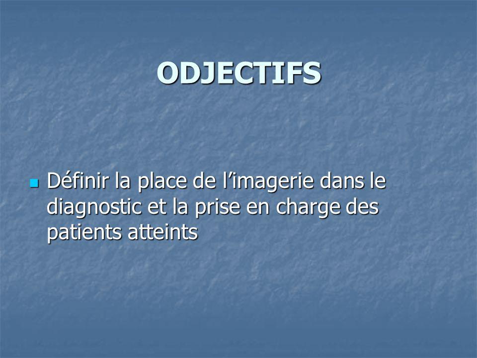 ODJECTIFS Définir la place de limagerie dans le diagnostic et la prise en charge des patients atteints Définir la place de limagerie dans le diagnosti