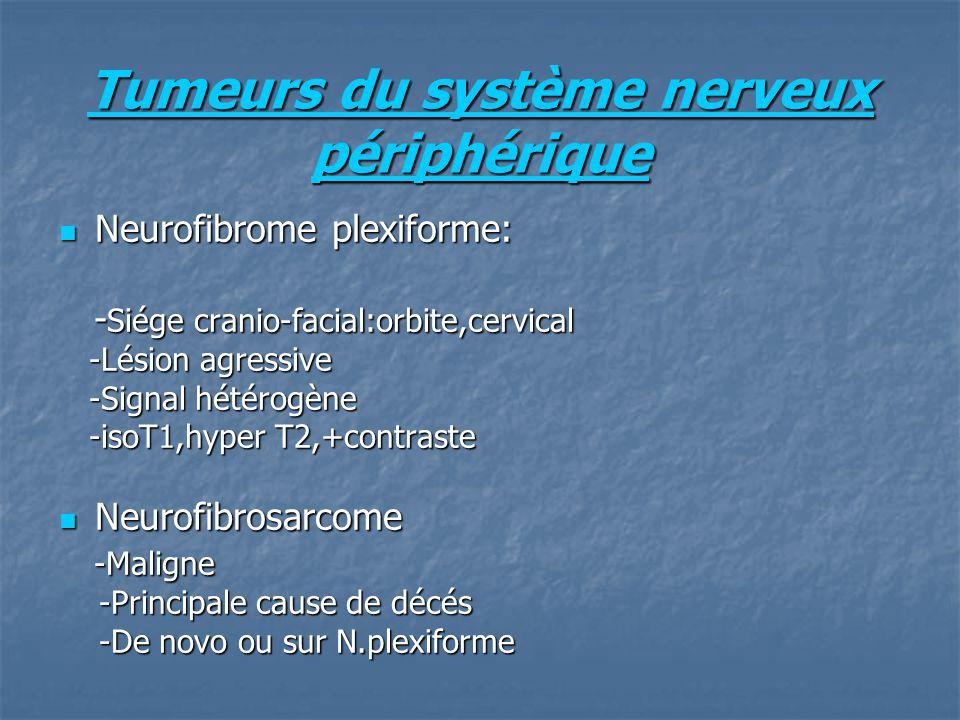 Tumeurs du système nerveux périphérique Neurofibrome plexiforme: Neurofibrome plexiforme: - Siége cranio-facial:orbite,cervical - Siége cranio-facial:orbite,cervical -Lésion agressive -Lésion agressive -Signal hétérogène -Signal hétérogène -isoT1,hyper T2,+contraste -isoT1,hyper T2,+contraste Neurofibrosarcome Neurofibrosarcome -Maligne -Maligne -Principale cause de décés -Principale cause de décés -De novo ou sur N.plexiforme -De novo ou sur N.plexiforme
