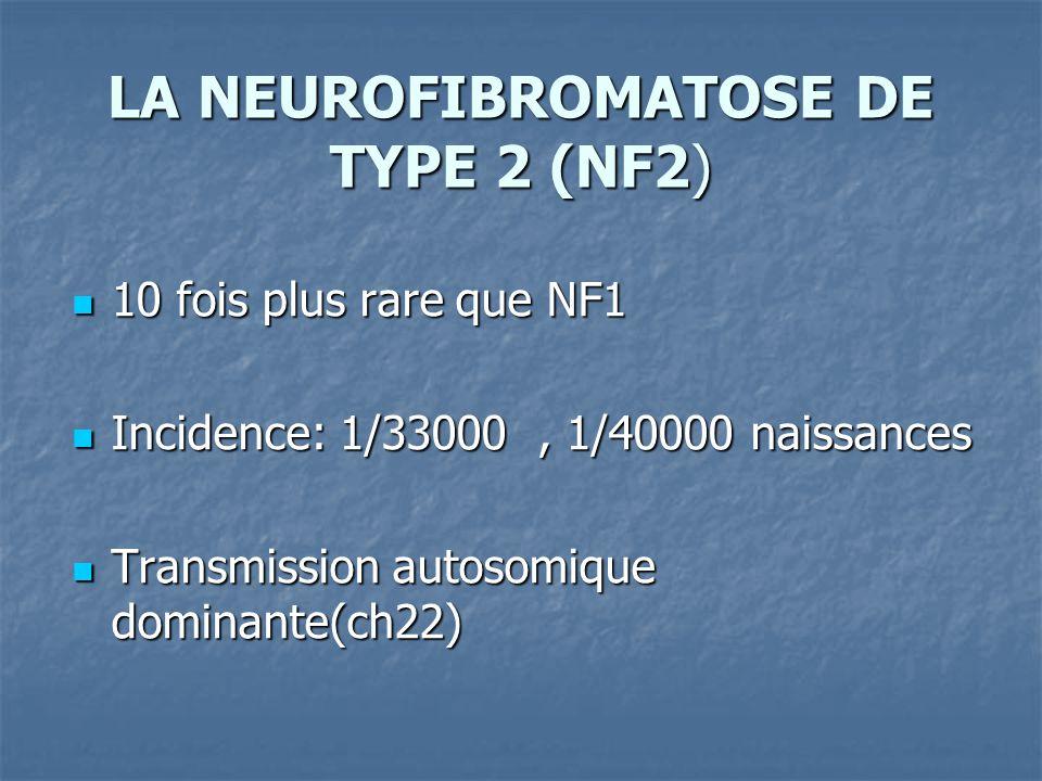 10 fois plus rare que NF1 10 fois plus rare que NF1 Incidence: 1/33000, 1/40000 naissances Incidence: 1/33000, 1/40000 naissances Transmission autosomique dominante(ch22) Transmission autosomique dominante(ch22)