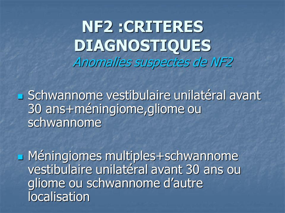 NF2 :CRITERES DIAGNOSTIQUES Anomalies suspectes de NF2 Anomalies suspectes de NF2 Schwannome vestibulaire unilatéral avant 30 ans+méningiome,gliome ou schwannome Schwannome vestibulaire unilatéral avant 30 ans+méningiome,gliome ou schwannome Méningiomes multiples+schwannome vestibulaire unilatéral avant 30 ans ou gliome ou schwannome dautre localisation Méningiomes multiples+schwannome vestibulaire unilatéral avant 30 ans ou gliome ou schwannome dautre localisation