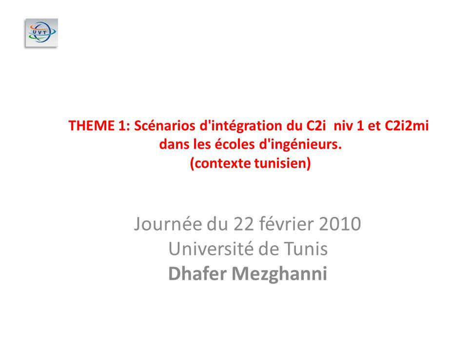 Journée du 22 février 2010 Université de Tunis Dhafer Mezghanni THEME 1: Scénarios d'intégration du C2i niv 1 et C2i2mi dans les écoles d'ingénieurs.