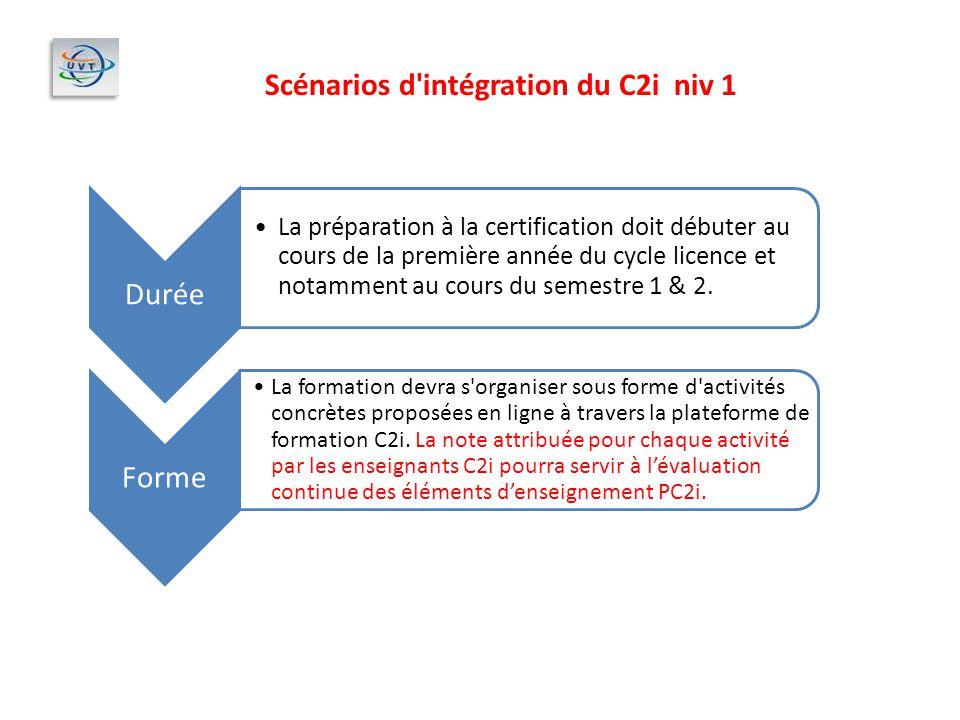 Scénarios d intégration du C2i niv 1 Durée La préparation à la certification doit débuter au cours de la première année du cycle licence et notamment au cours du semestre 1 & 2.
