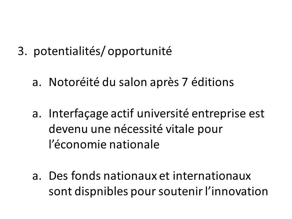 3. potentialités/ opportunité a.Notoréité du salon après 7 éditions a.Interfaçage actif université entreprise est devenu une nécessité vitale pour léc