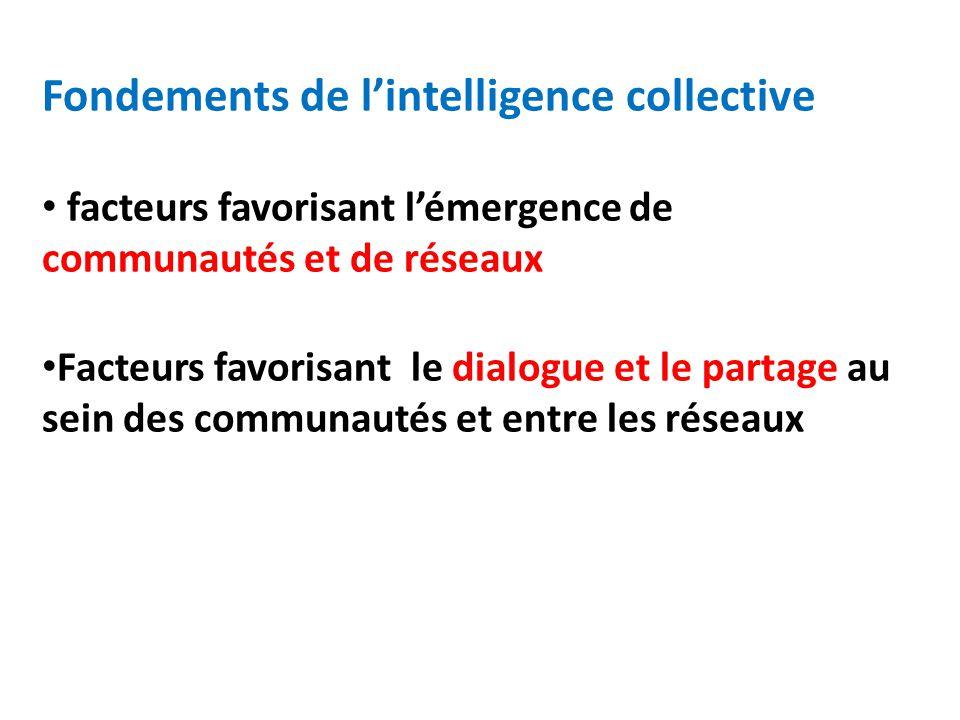 Fondements de lintelligence collective facteurs favorisant lémergence de communautés et de réseaux Facteurs favorisant le dialogue et le partage au sein des communautés et entre les réseaux