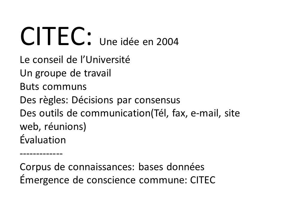 CITEC: Une idée en 2004 Le conseil de lUniversité Un groupe de travail Buts communs Des règles: Décisions par consensus Des outils de communication(Tél, fax, e-mail, site web, réunions) Évaluation ------------- Corpus de connaissances: bases données Émergence de conscience commune: CITEC