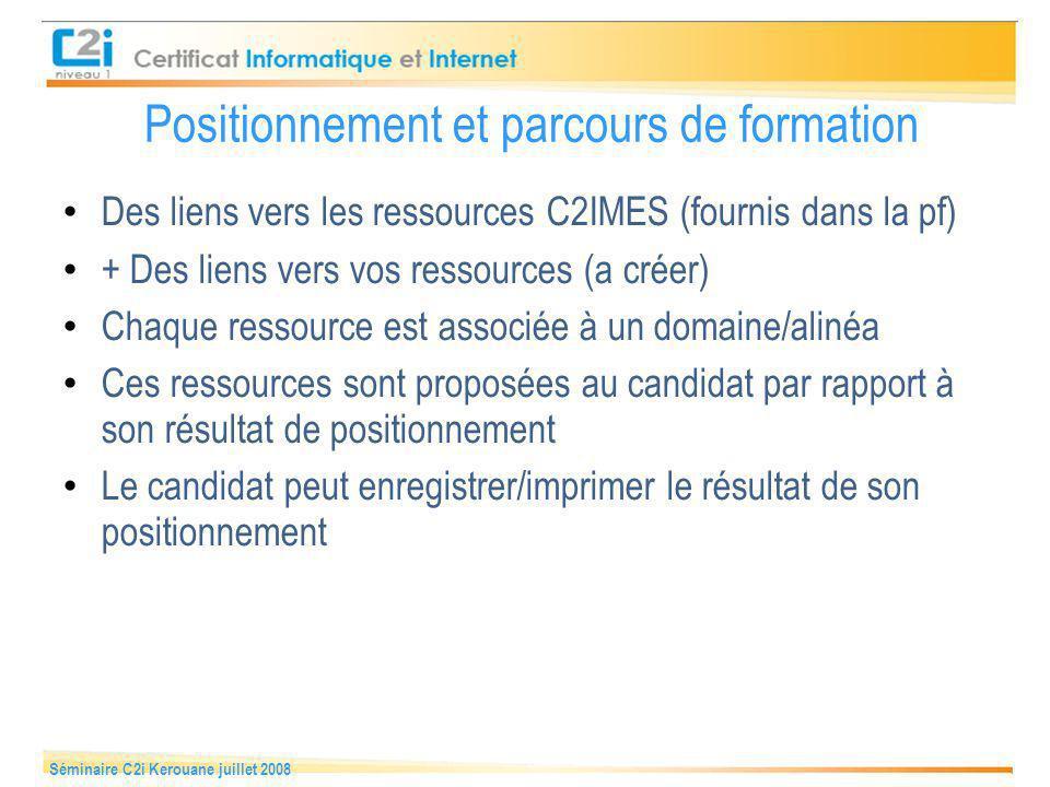 Séminaire C2i Kerouane juillet 2008 Positionnement & Parcours de formation 1 2 3