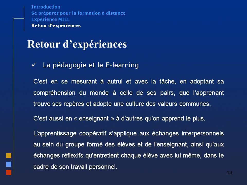 13 Retour dexpériences La pédagogie et le E-learning Expérience MIEL Se préparer pour la formation à distance Introduction Retour dexpériences Cest en