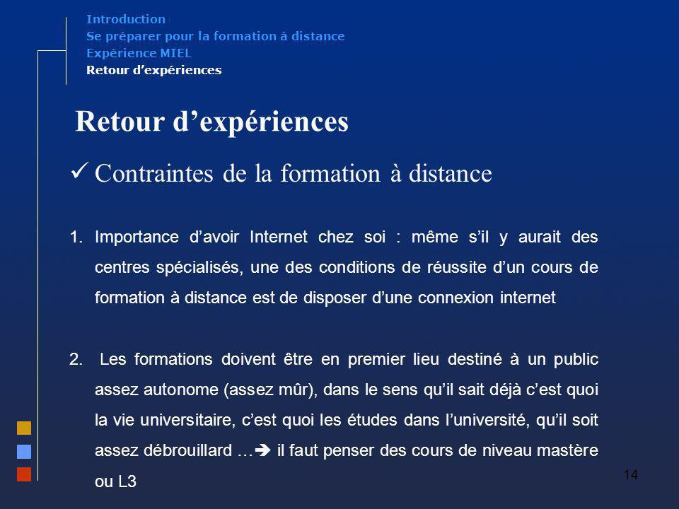 14 Retour dexpériences Contraintes de la formation à distance 1.Importance davoir Internet chez soi : même sil y aurait des centres spécialisés, une d