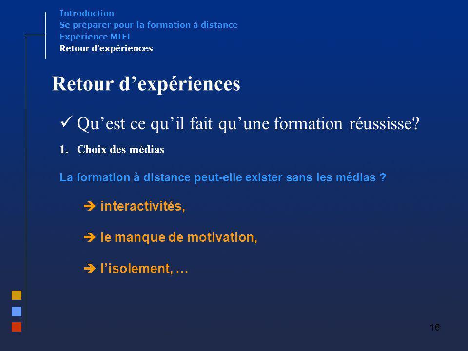 16 Retour dexpériences Quest ce quil fait quune formation réussisse? 1.Choix des médias La formation à distance peut-elle exister sans les médias ? in