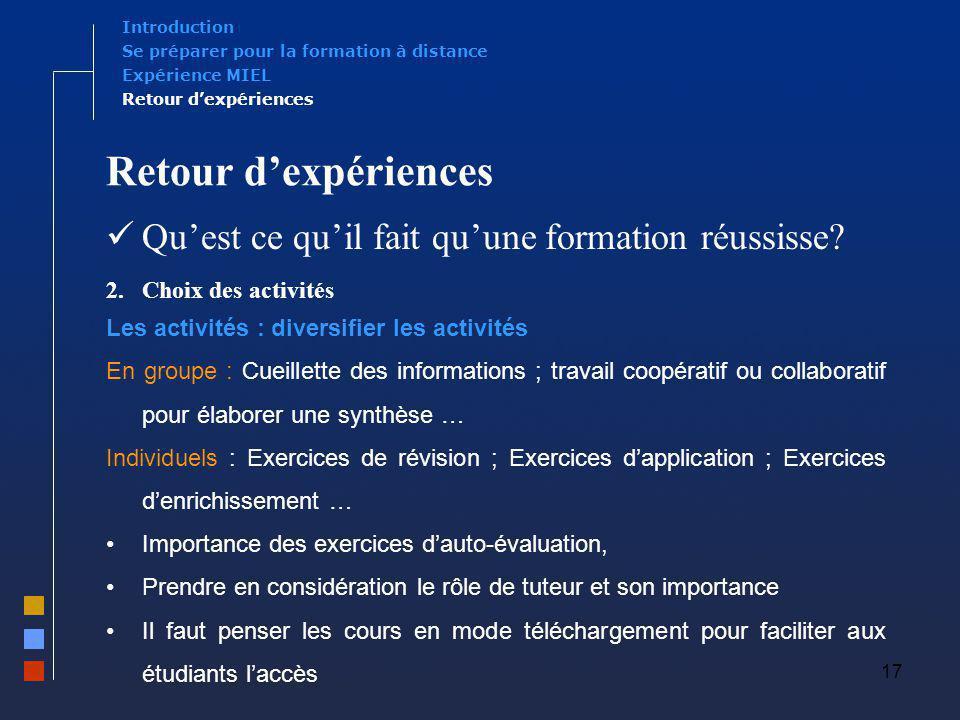 17 Retour dexpériences Quest ce quil fait quune formation réussisse? 2.Choix des activités Les activités : diversifier les activités En groupe : Cueil