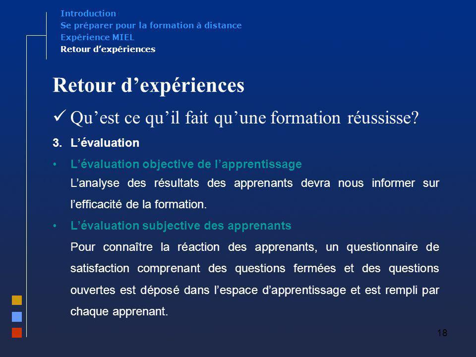 18 Retour dexpériences Quest ce quil fait quune formation réussisse? 3.Lévaluation Lévaluation objective de lapprentissage Lanalyse des résultats des