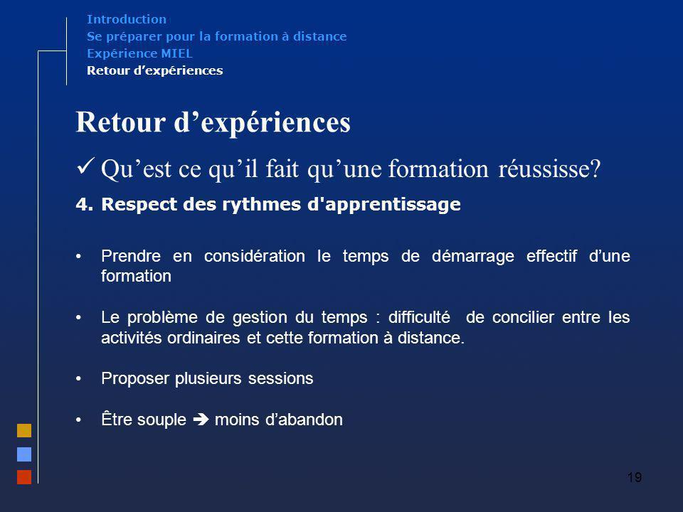 19 Retour dexpériences Quest ce quil fait quune formation réussisse? 4.Respect des rythmes d'apprentissage Prendre en considération le temps de démarr