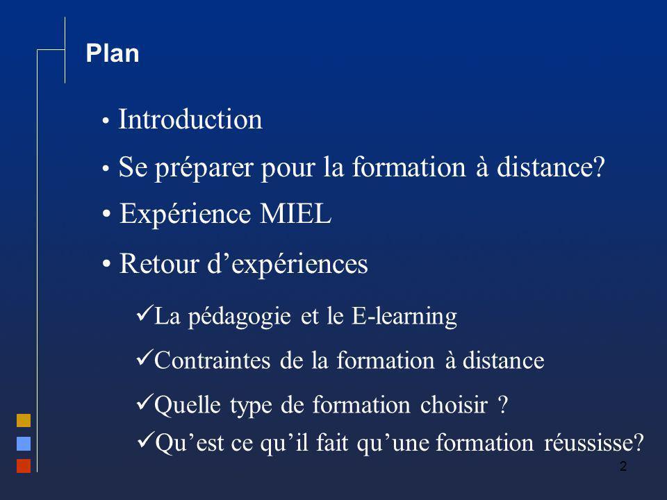 2 Plan Se préparer pour la formation à distance? Expérience MIEL Retour dexpériences La pédagogie et le E-learning Contraintes de la formation à dista