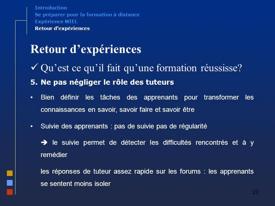 20 Retour dexpériences Quest ce quil fait quune formation réussisse? 5.Ne pas négliger le rôle des tuteurs Bien définir les tâches des apprenants pour