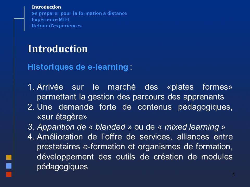4 Introduction Historiques de e-learning : 1.Arrivée sur le marché des «plates formes» permettant la gestion des parcours des apprenants 2.Une demande