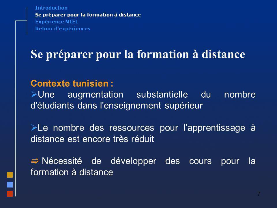 8 Expérience MIEL Se préparer pour la formation à distance Introduction Retour dexpériences Des compétences en e-learning .