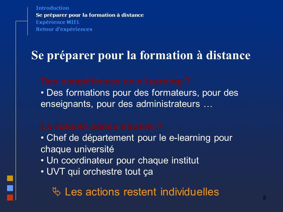 8 Expérience MIEL Se préparer pour la formation à distance Introduction Retour dexpériences Des compétences en e-learning ? Des formations pour des fo