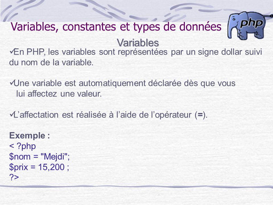 Variables, constantes et types de donnéesVariables En PHP, les variables sont représentées par un signe dollar suivi du nom de la variable. Une variab