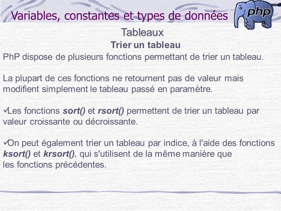 Variables, constantes et types de donnéesTableaux Trier un tableau PhP dispose de plusieurs fonctions permettant de trier un tableau. La plupart de ce
