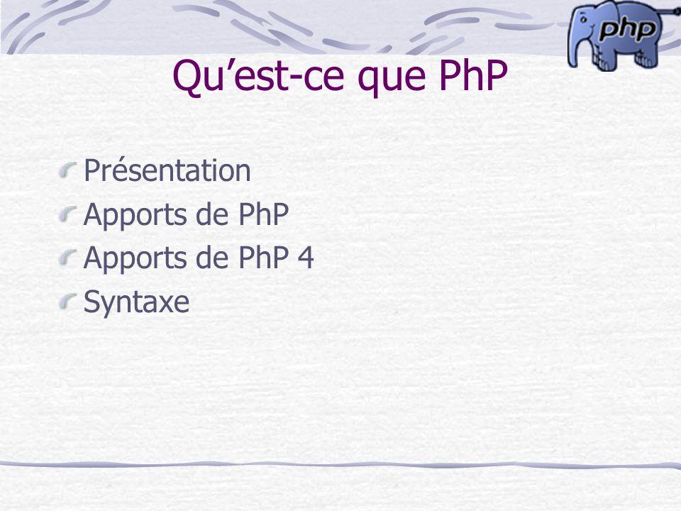 Quest-ce que PhP Présentation Apports de PhP Apports de PhP 4 Syntaxe