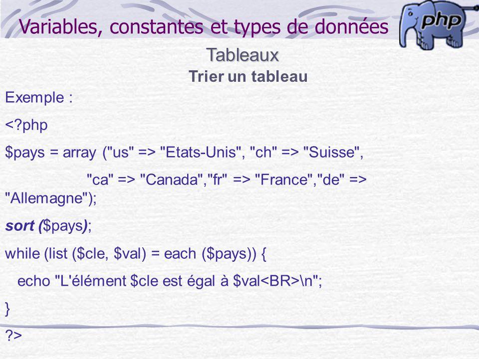 Variables, constantes et types de données Chaînes de caractères Fonctions de chaînes de caractères substr() : string substr(string source, int début, int [taille]) Retourne une portion de string, spécifiée avec le début début et la longeur taille.