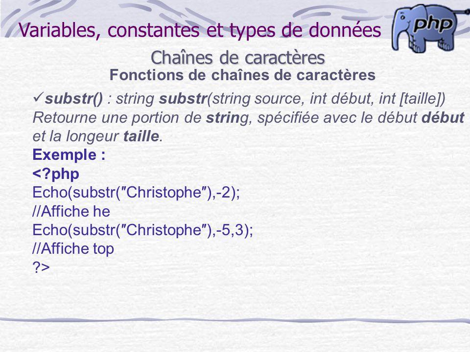 Variables, constantes et types de données Chaînes de caractères Fonctions de chaînes de caractères substr() : string substr(string source, int début,