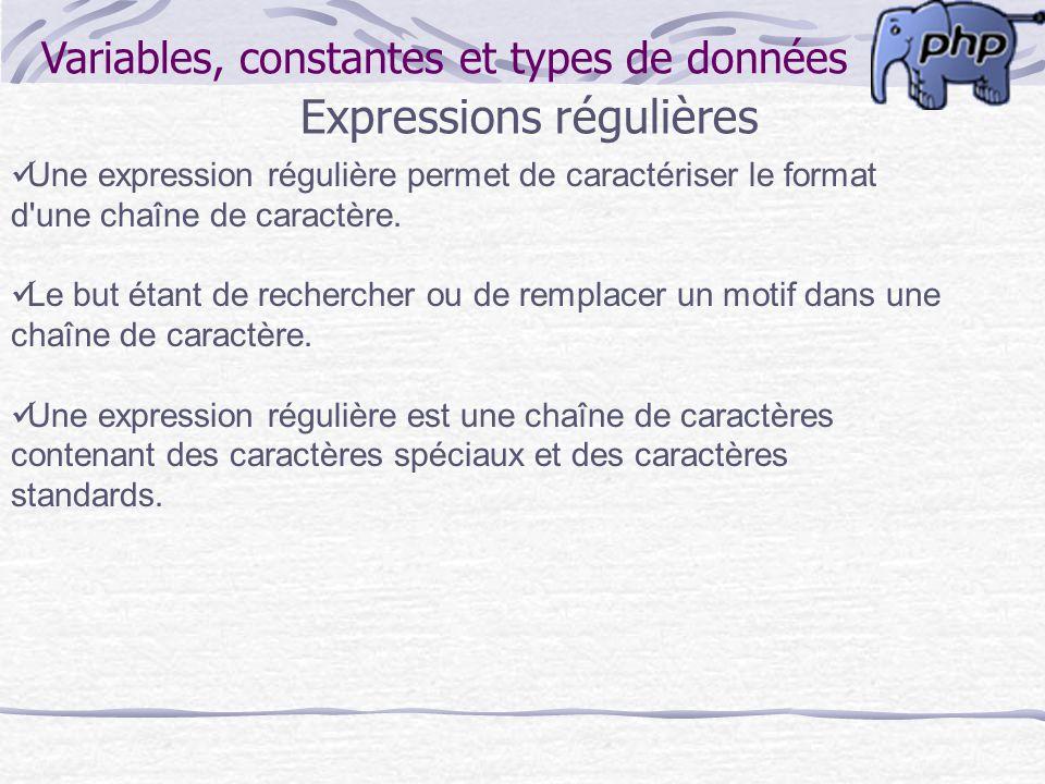 Variables, constantes et types de données Expressions régulières Une expression régulière permet de caractériser le format d'une chaîne de caractère.