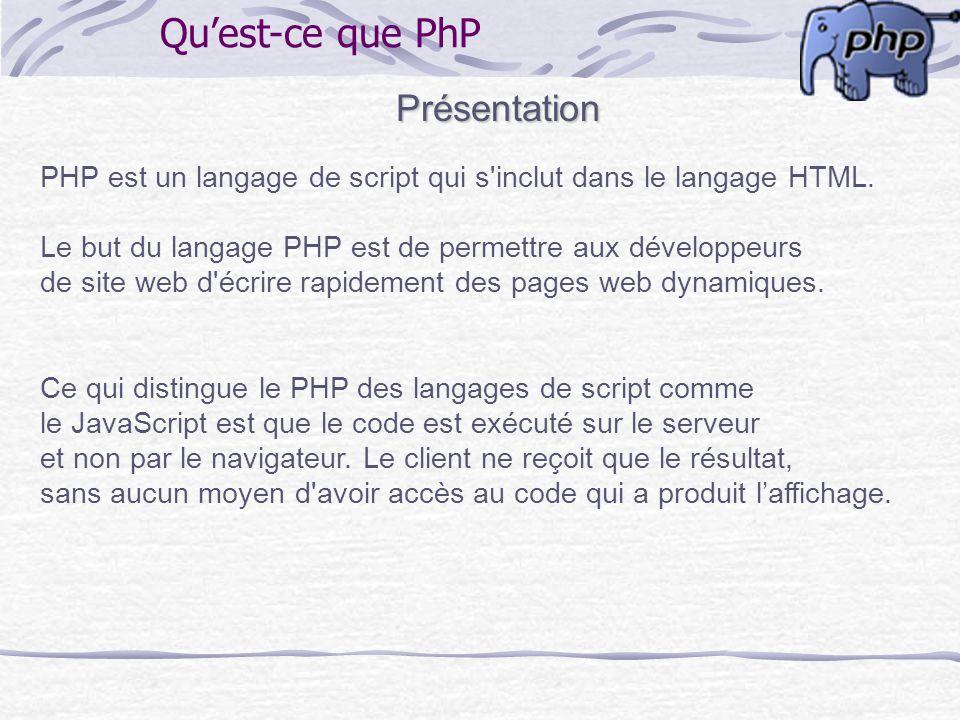 Quest-ce que PhP Présentation PHP est un langage de script qui s'inclut dans le langage HTML. Le but du langage PHP est de permettre aux développeurs