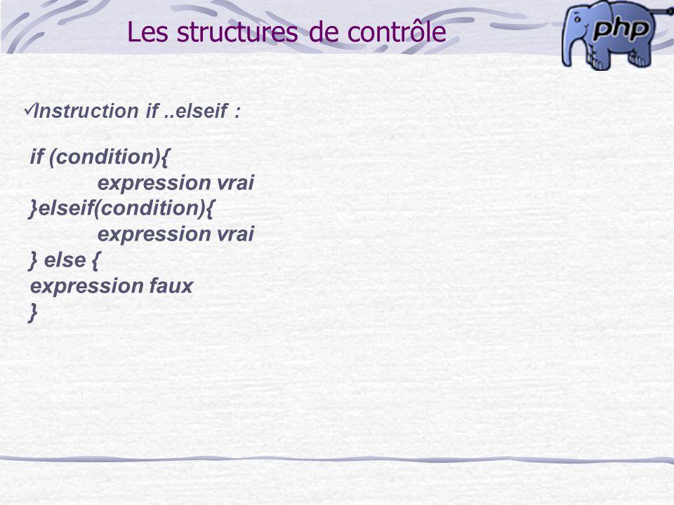 Les structures de contrôle Instruction if..elseif : if (condition){ expression vrai }elseif(condition){ expression vrai } else { expression faux }
