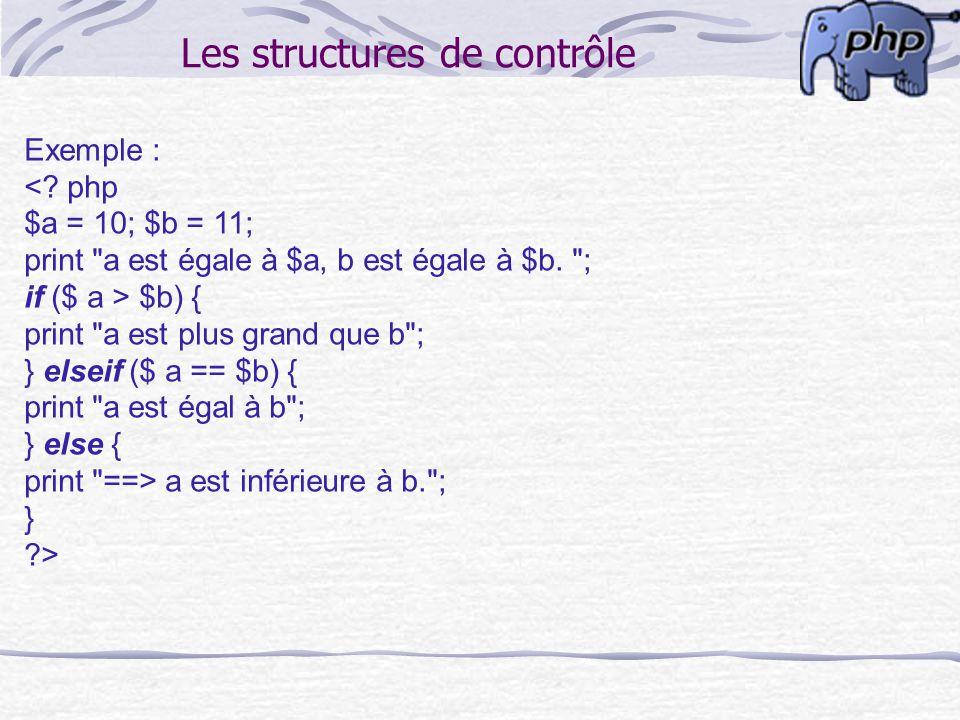Les structures de contrôle Exemple : <? php $a = 10; $b = 11; print