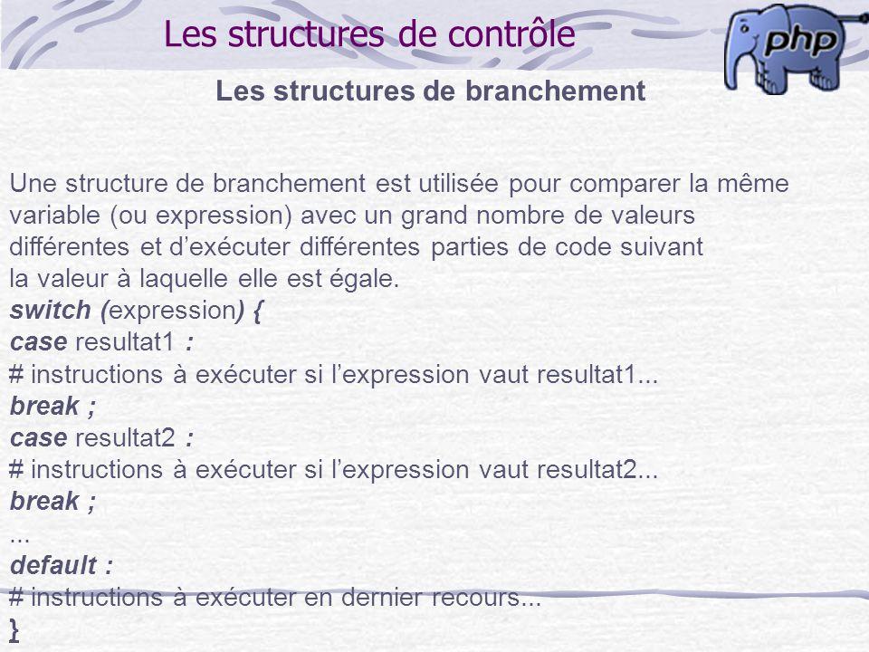 Les structures de contrôle Les structures de branchement Une structure de branchement est utilisée pour comparer la même variable (ou expression) avec