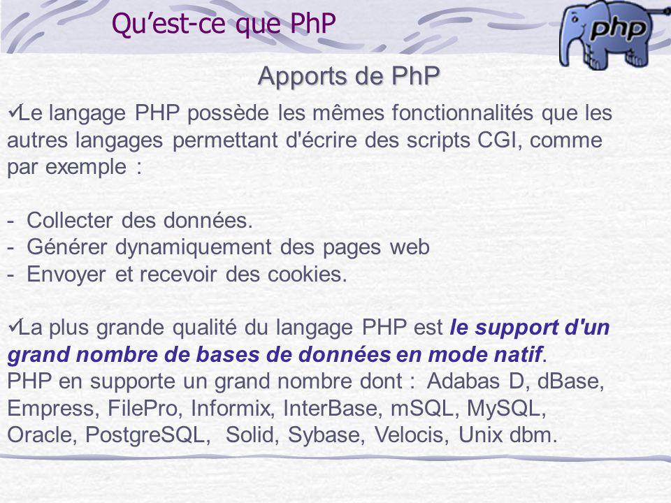 Quest-ce que PhP Apports de PhP Le langage PHP possède les mêmes fonctionnalités que les autres langages permettant d'écrire des scripts CGI, comme pa