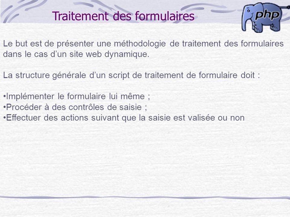 Traitement des formulaires Le but est de présenter une méthodologie de traitement des formulaires dans le cas dun site web dynamique. La structure gén